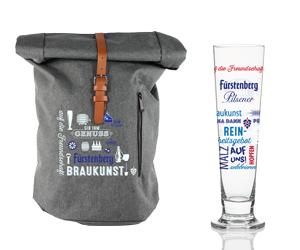 Glas und Rucksack von Fürstenberg