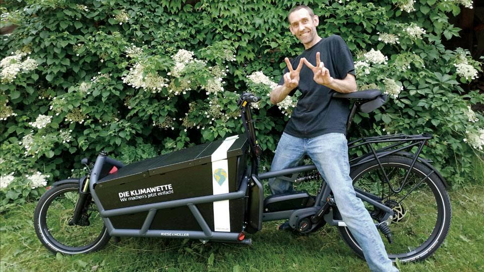 Michael Bilharz mit seinem Lastenrad