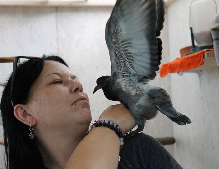 Stefanie Löffler mit einer Taube aus der Pflegestation