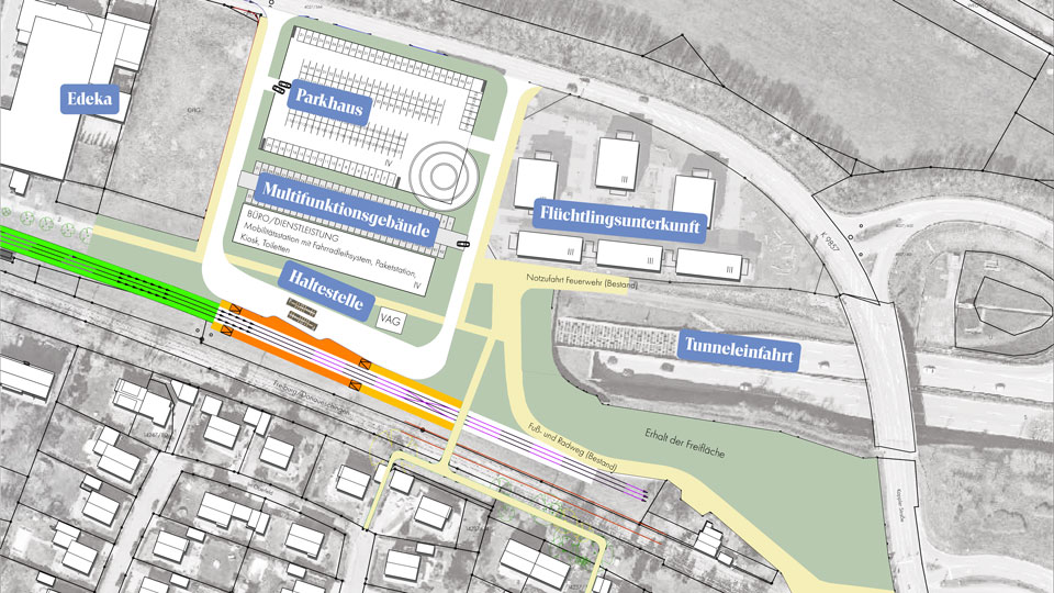 Plan für die künftige Endhaltestelle am Kappler Knoten