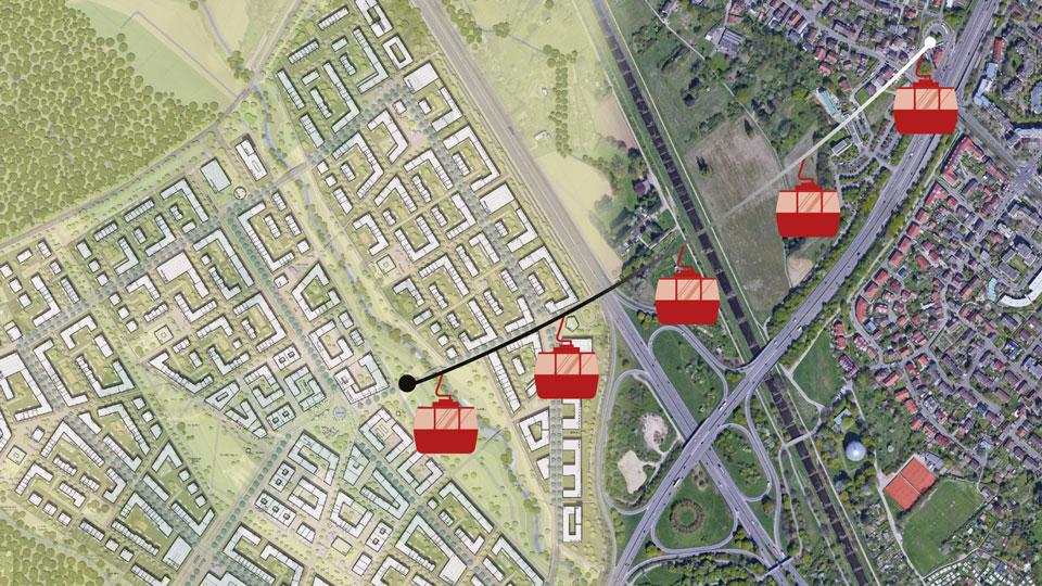 Visualisierung Gondel von Dietenbach zu Paduaallee
